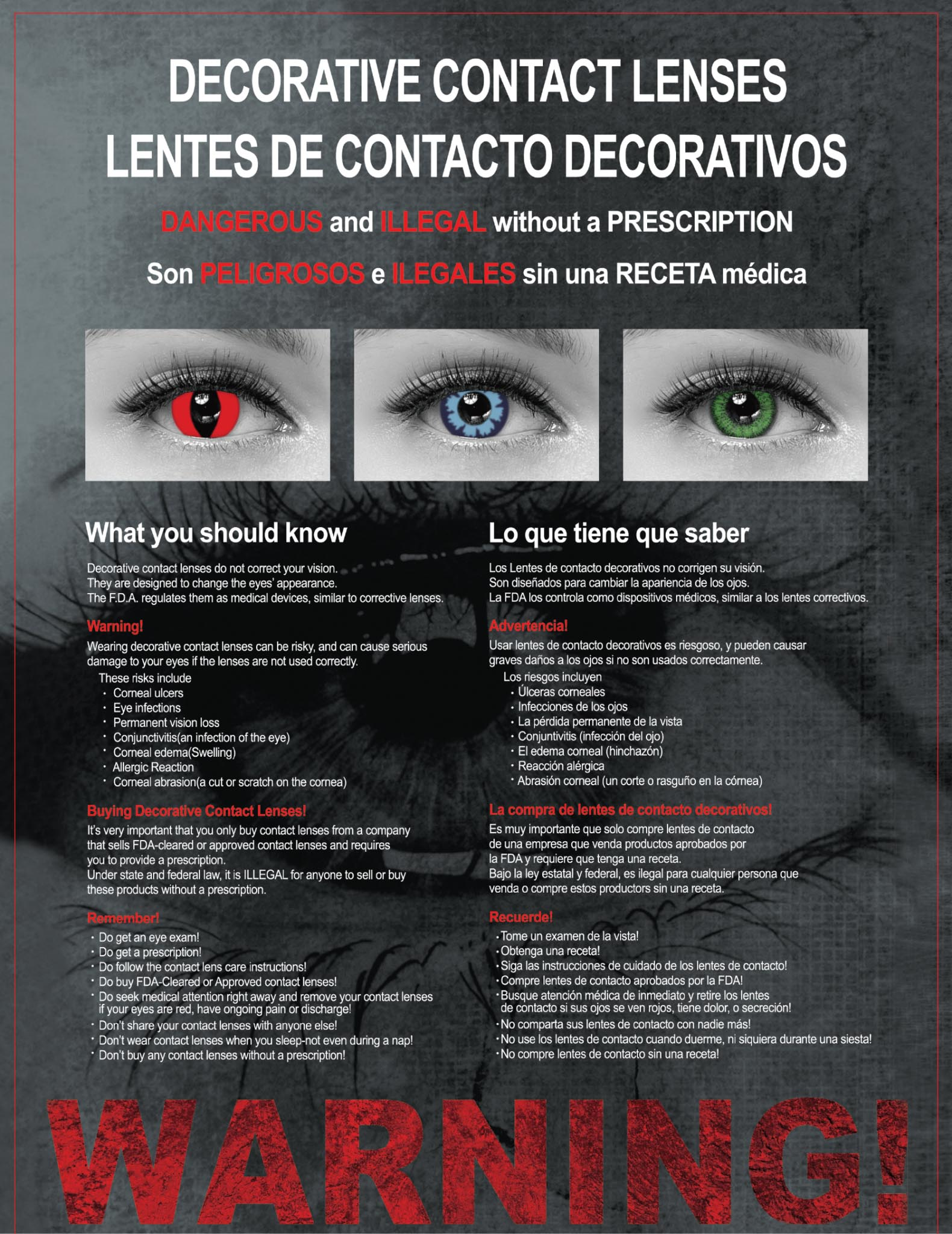 LenzOutlet Decorative Contact Lenses Warning Poster